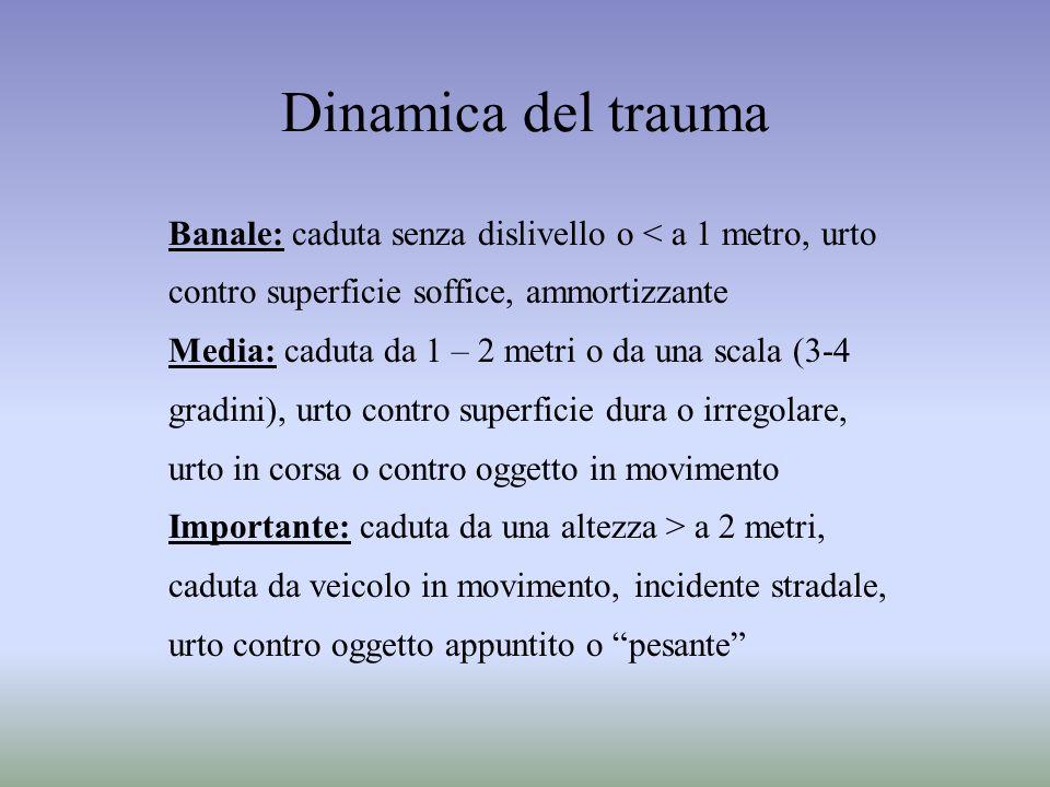 Dinamica del trauma Banale: caduta senza dislivello o < a 1 metro, urto contro superficie soffice, ammortizzante Media: caduta da 1 – 2 metri o da una