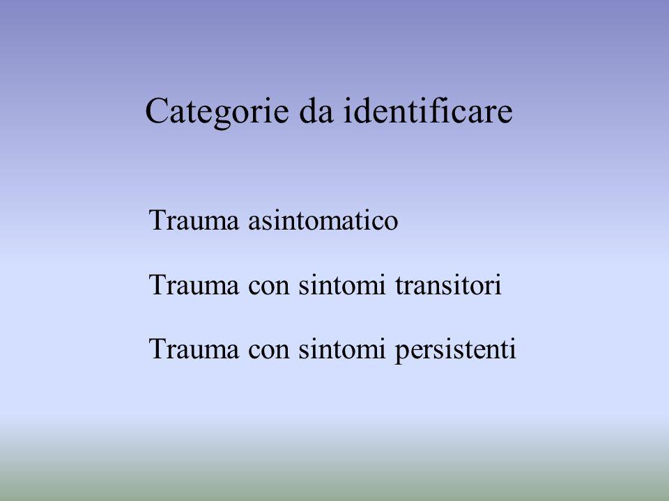 Categorie da identificare Trauma asintomatico Trauma con sintomi transitori Trauma con sintomi persistenti