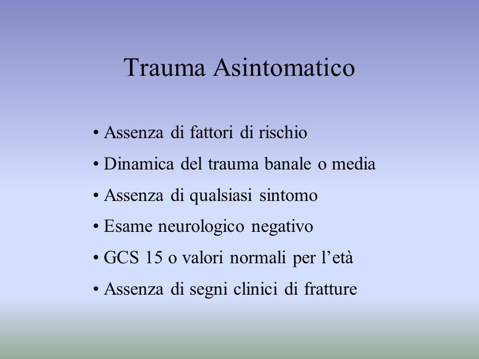 Trauma Asintomatico Assenza di fattori di rischio Dinamica del trauma banale o media Assenza di qualsiasi sintomo Esame neurologico negativo GCS 15 o