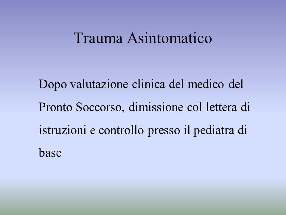 Trauma Asintomatico Dopo valutazione clinica del medico del Pronto Soccorso, dimissione col lettera di istruzioni e controllo presso il pediatra di ba