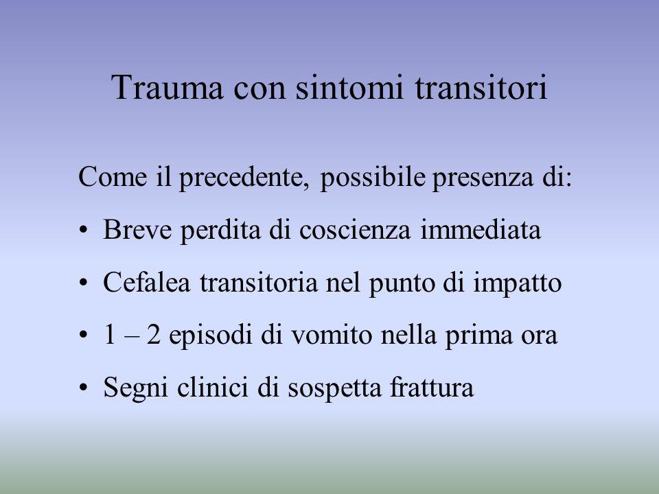 Trauma con sintomi transitori Come il precedente, possibile presenza di: Breve perdita di coscienza immediata Cefalea transitoria nel punto di impatto