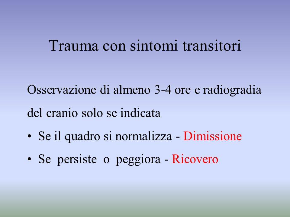 Trauma con sintomi transitori Osservazione di almeno 3-4 ore e radiogradia del cranio solo se indicata Se il quadro si normalizza - Dimissione Se pers