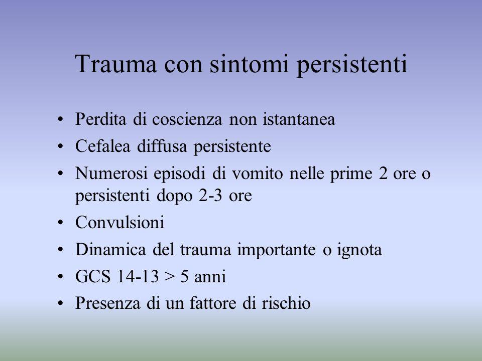 Trauma con sintomi persistenti Perdita di coscienza non istantanea Cefalea diffusa persistente Numerosi episodi di vomito nelle prime 2 ore o persiste