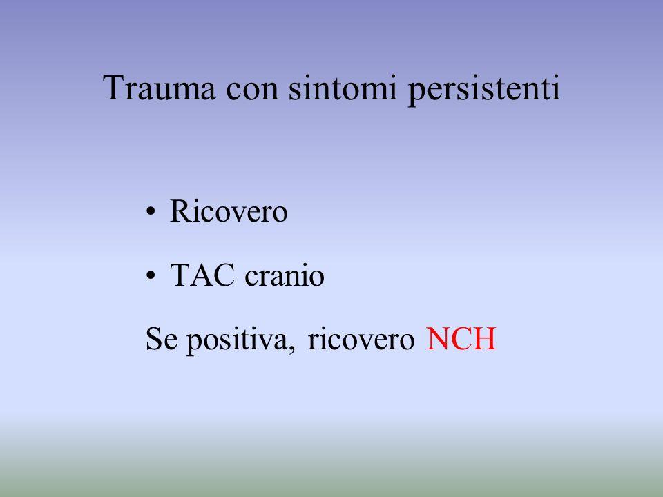 Trauma con sintomi persistenti Ricovero TAC cranio Se positiva, ricovero NCH