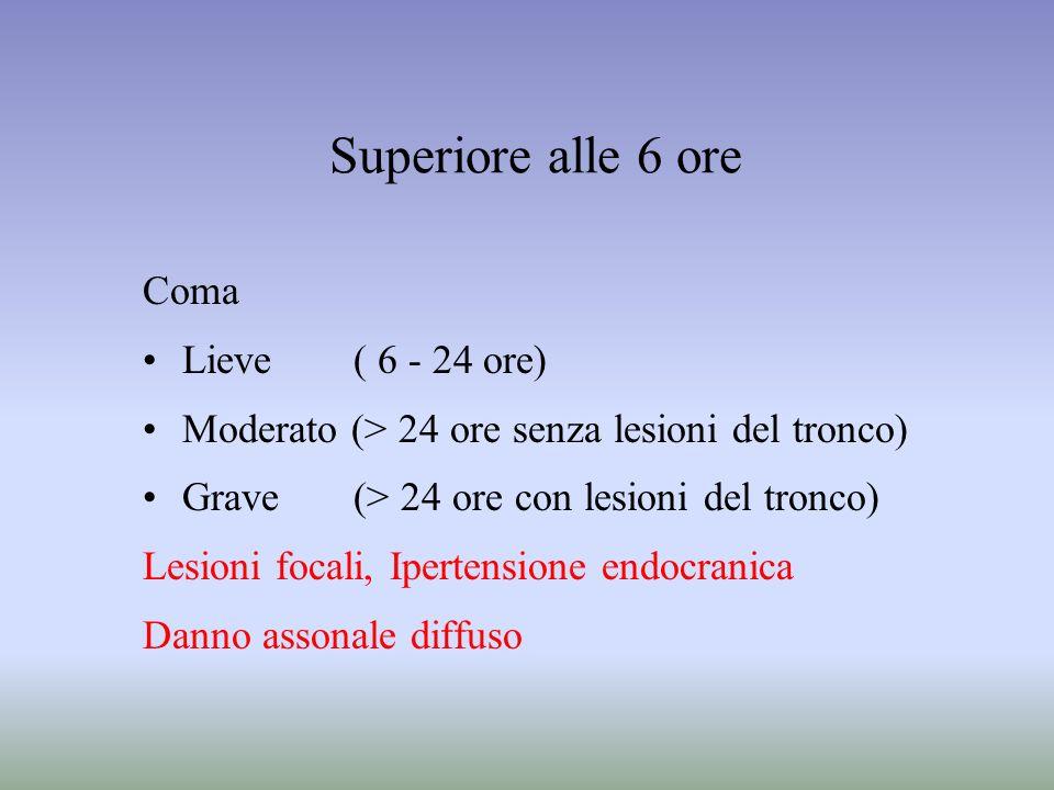 Superiore alle 6 ore Coma Lieve( 6 - 24 ore) Moderato (> 24 ore senza lesioni del tronco) Grave (> 24 ore con lesioni del tronco) Lesioni focali, Iper