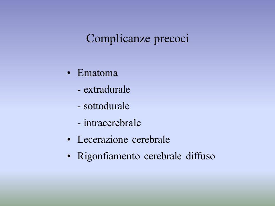 Complicanze precoci Ematoma - extradurale - sottodurale - intracerebrale Lecerazione cerebrale Rigonfiamento cerebrale diffuso