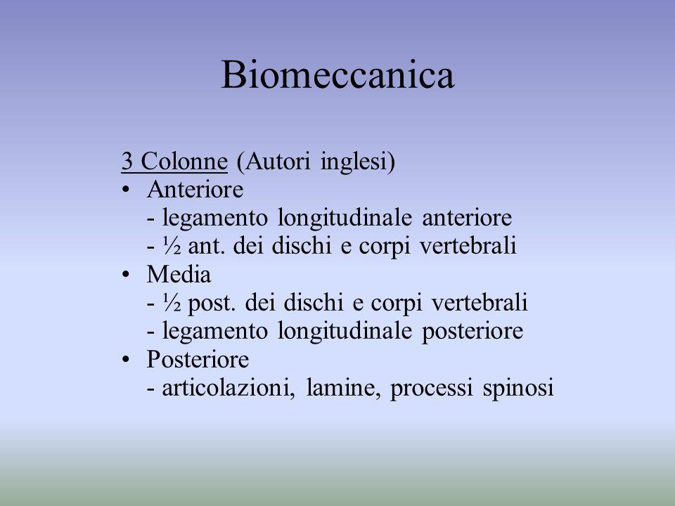Biomeccanica 3 Colonne (Autori inglesi) Anteriore - legamento longitudinale anteriore - ½ ant. dei dischi e corpi vertebrali Media - ½ post. dei disch