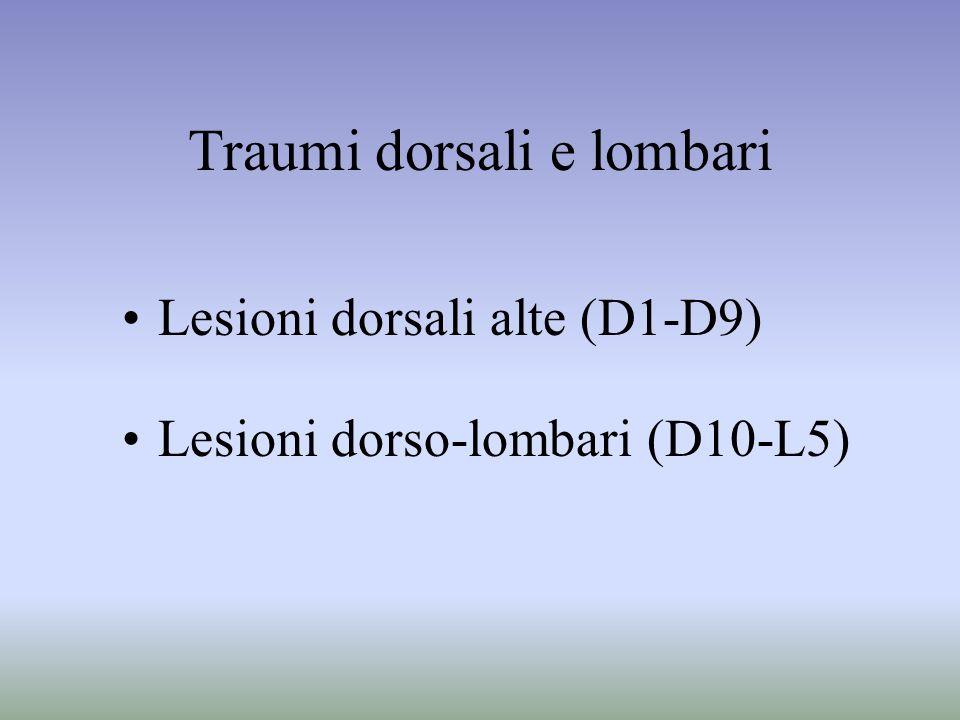 Traumi dorsali e lombari Lesioni dorsali alte (D1-D9) Lesioni dorso-lombari (D10-L5)