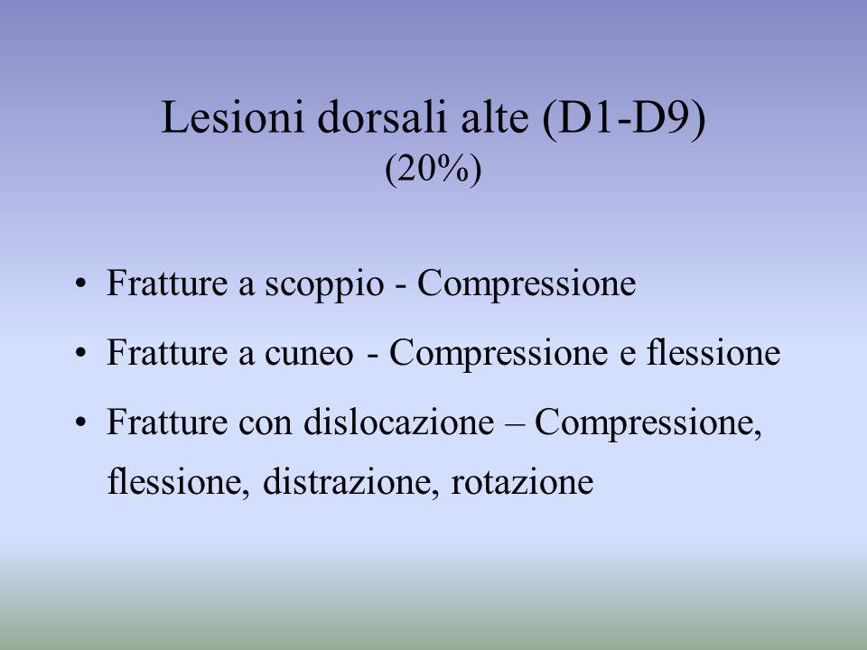 Lesioni dorsali alte (D1-D9) (20%) Fratture a scoppio - Compressione Fratture a cuneo - Compressione e flessione Fratture con dislocazione – Compressi