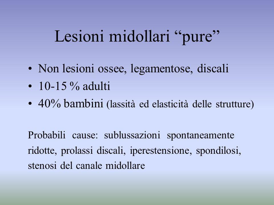 Lesioni midollari pure Non lesioni ossee, legamentose, discali 10-15 % adulti 40% bambini (lassità ed elasticità delle strutture) Probabili cause: sub
