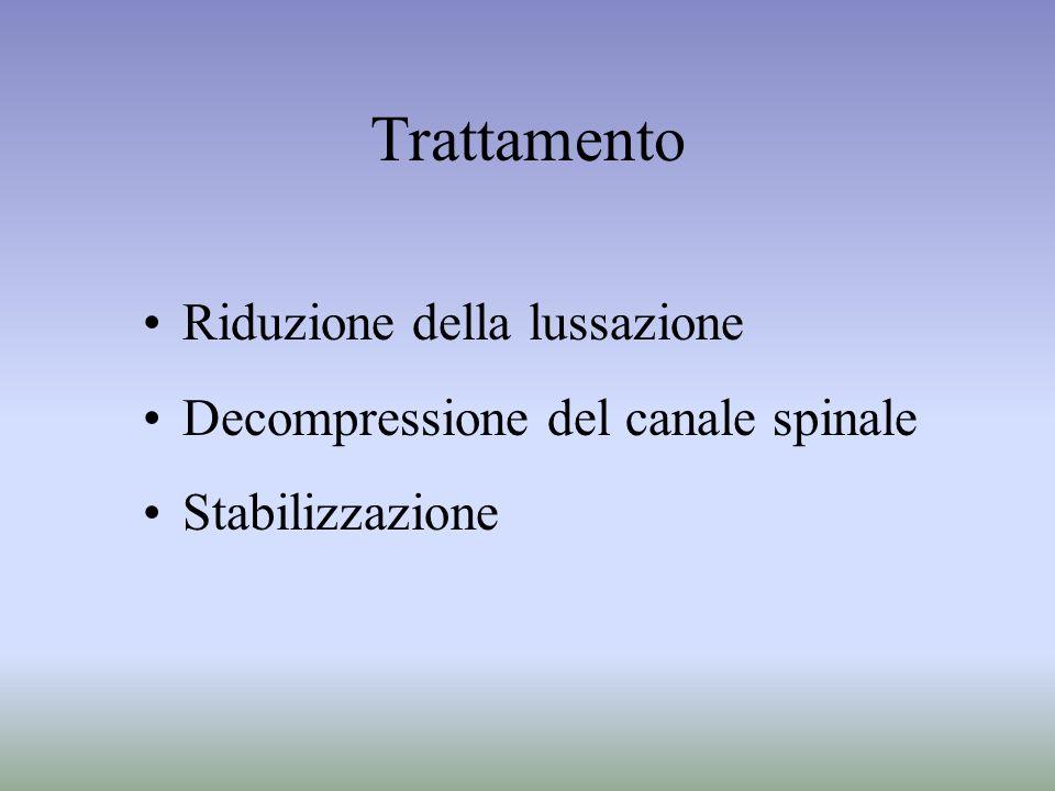 Trattamento Riduzione della lussazione Decompressione del canale spinale Stabilizzazione