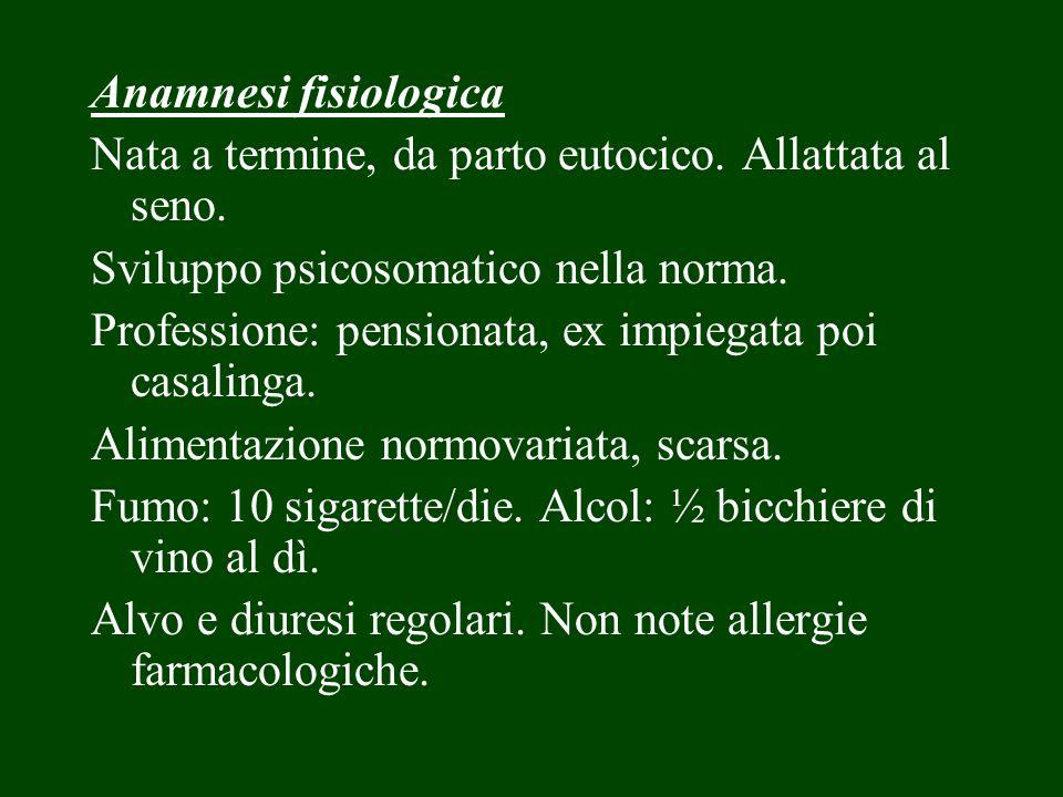 Anamnesi patologica remota Ricorda CEI.A 6 anni: tonsillectomia.