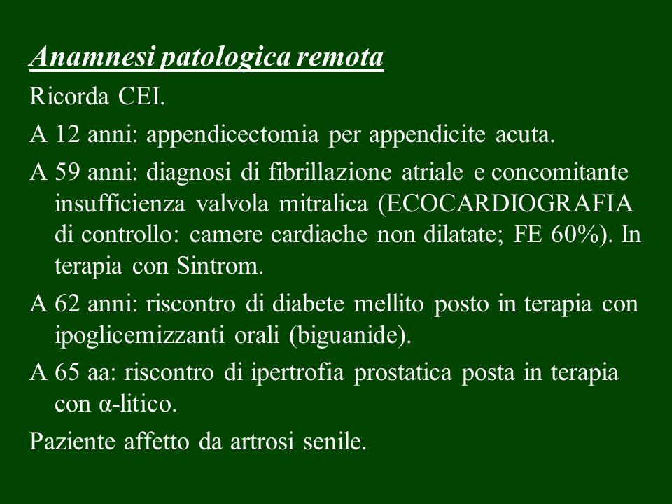 Anamnesi patologica remota Ricorda CEI. A 12 anni: appendicectomia per appendicite acuta. A 59 anni: diagnosi di fibrillazione atriale e concomitante