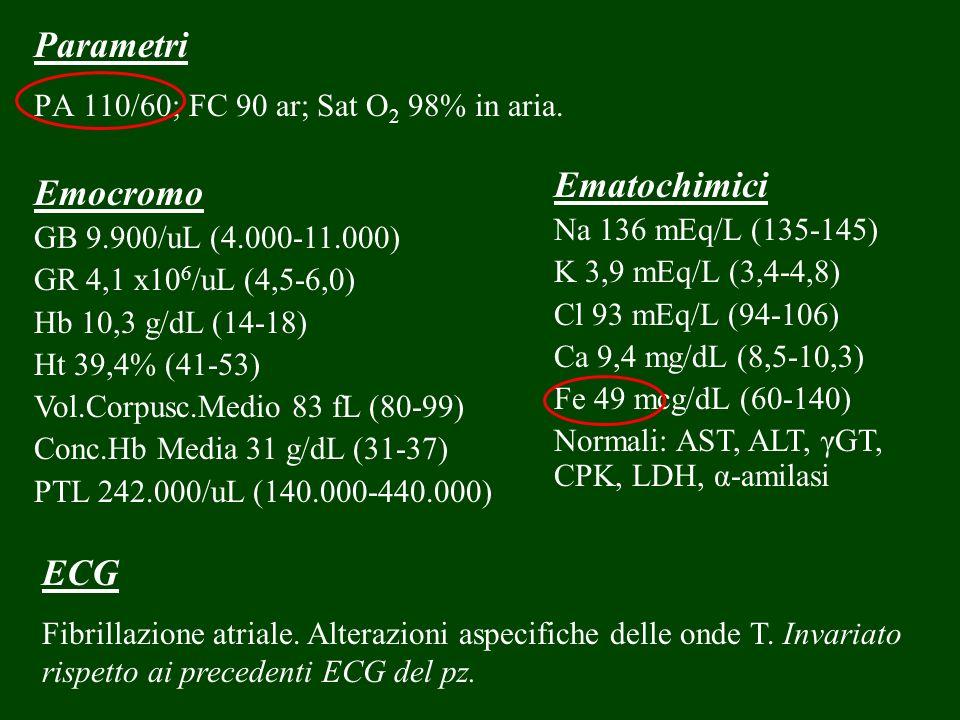 Parametri PA 110/60; FC 90 ar; Sat O 2 98% in aria. Emocromo GB 9.900/uL (4.000-11.000) GR 4,1 x10 6 /uL (4,5-6,0) Hb 10,3 g/dL (14-18) Ht 39,4% (41-5