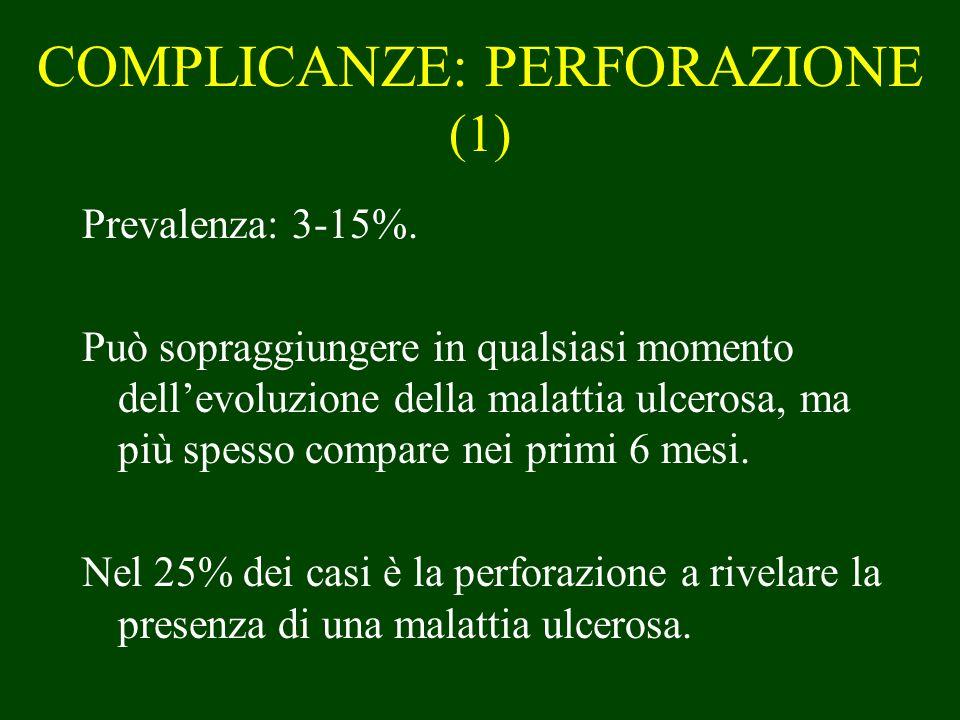 COMPLICANZE: PERFORAZIONE (1) Prevalenza: 3-15%. Può sopraggiungere in qualsiasi momento dellevoluzione della malattia ulcerosa, ma più spesso compare