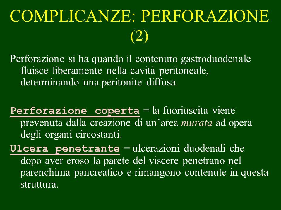 COMPLICANZE: PERFORAZIONE (2) Perforazione si ha quando il contenuto gastroduodenale fluisce liberamente nella cavità peritoneale, determinando una pe