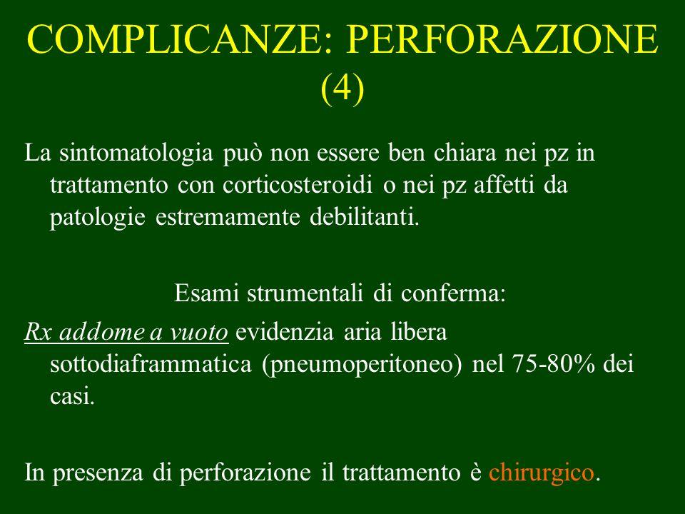 COMPLICANZE: PERFORAZIONE (4) La sintomatologia può non essere ben chiara nei pz in trattamento con corticosteroidi o nei pz affetti da patologie estr