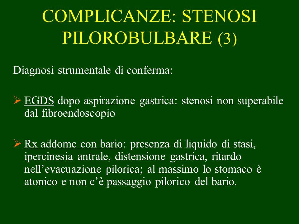 COMPLICANZE: STENOSI PILOROBULBARE (3) Diagnosi strumentale di conferma: EGDS dopo aspirazione gastrica: stenosi non superabile dal fibroendoscopio Rx