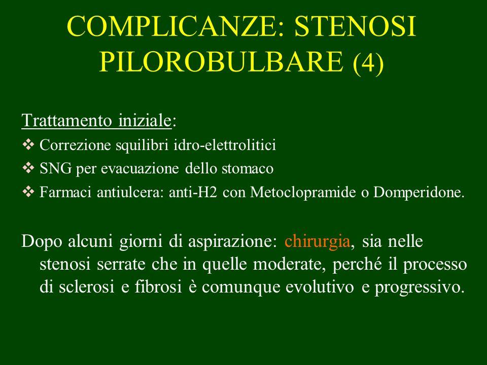 COMPLICANZE: STENOSI PILOROBULBARE (4) Trattamento iniziale: Correzione squilibri idro-elettrolitici SNG per evacuazione dello stomaco Farmaci antiulc