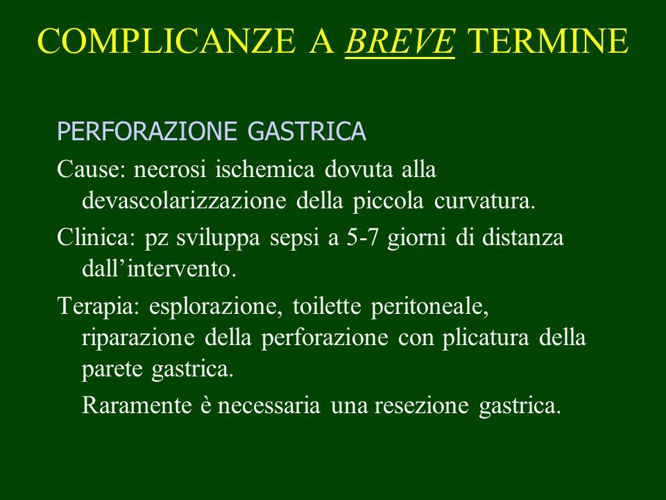 COMPLICANZE A BREVE TERMINE PERFORAZIONE GASTRICA Cause: necrosi ischemica dovuta alla devascolarizzazione della piccola curvatura. Clinica: pz svilup