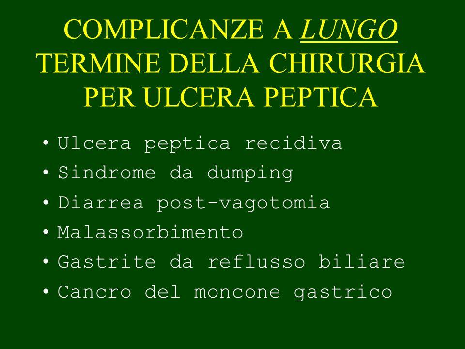 COMPLICANZE A LUNGO TERMINE DELLA CHIRURGIA PER ULCERA PEPTICA Ulcera peptica recidiva Sindrome da dumping Diarrea post-vagotomia Malassorbimento Gast