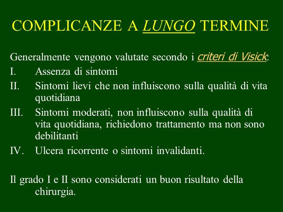 COMPLICANZE A LUNGO TERMINE Generalmente vengono valutate secondo i criteri di Visick : I.Assenza di sintomi II.Sintomi lievi che non influiscono sull
