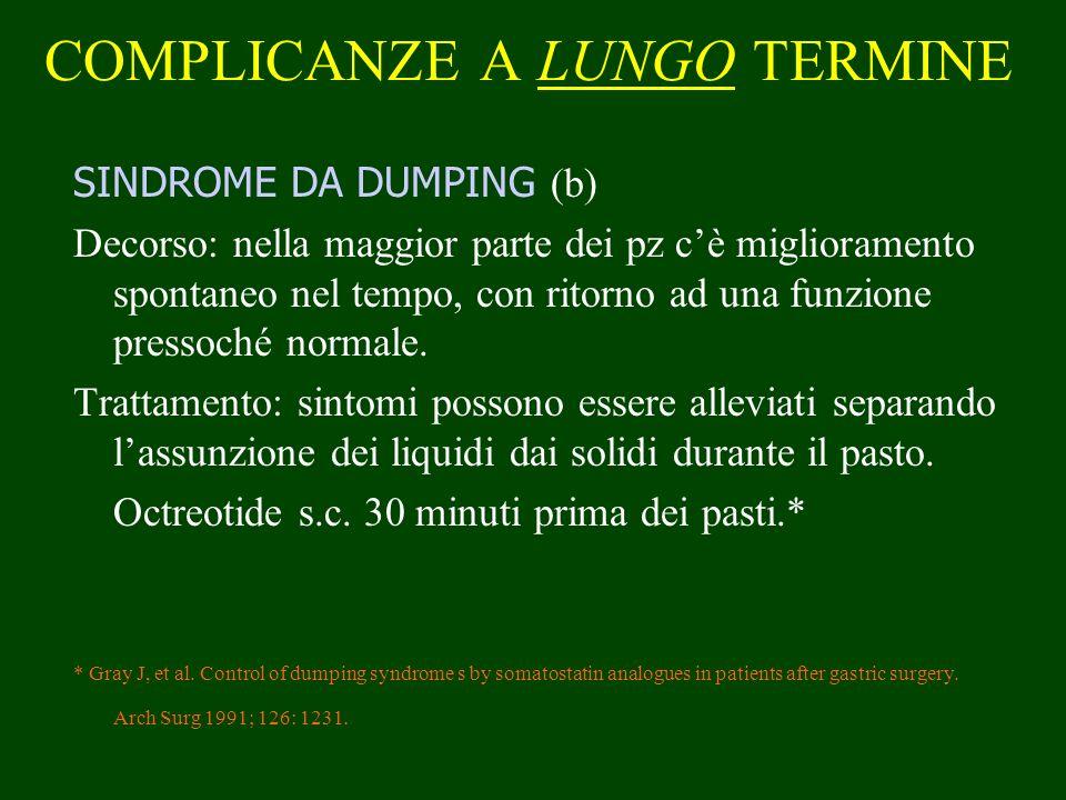COMPLICANZE A LUNGO TERMINE SINDROME DA DUMPING (b) Decorso: nella maggior parte dei pz cè miglioramento spontaneo nel tempo, con ritorno ad una funzi
