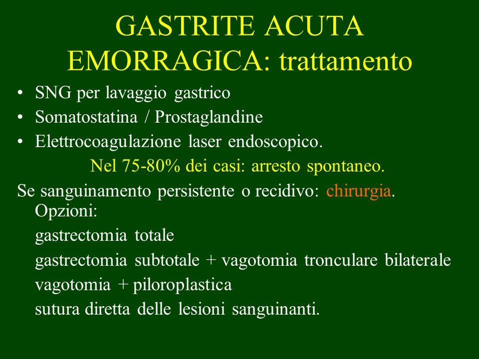 SNG per lavaggio gastrico Somatostatina / Prostaglandine Elettrocoagulazione laser endoscopico. Nel 75-80% dei casi: arresto spontaneo. Se sanguinamen