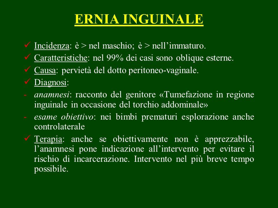 ERNIA INGUINALE Incidenza: è > nel maschio; è > nellimmaturo. Caratteristiche: nel 99% dei casi sono oblique esterne. Causa: pervietà del dotto perito