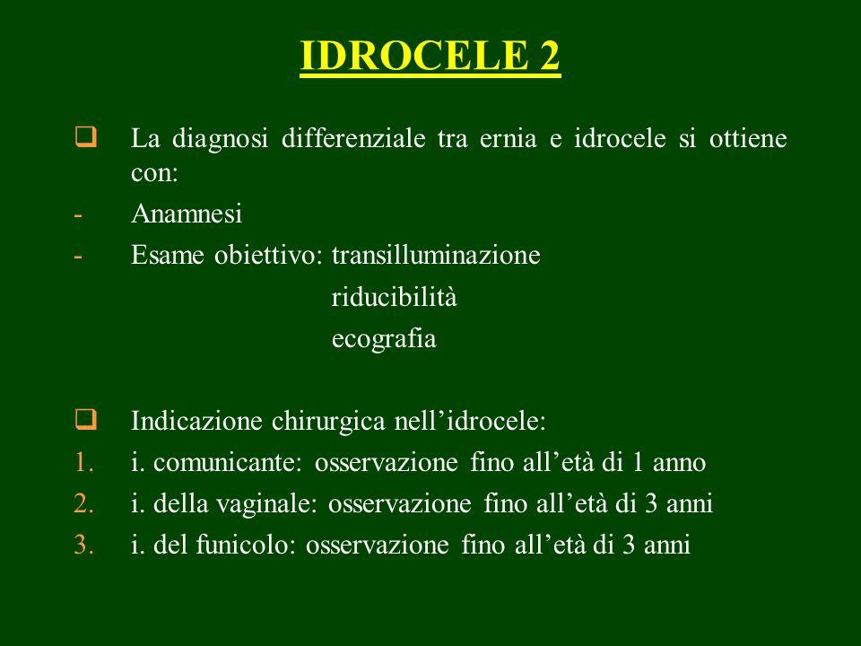 IDROCELE 2 La diagnosi differenziale tra ernia e idrocele si ottiene con: -Anamnesi -Esame obiettivo:transilluminazione riducibilità ecografia Indicazione chirurgica nellidrocele: 1.i.