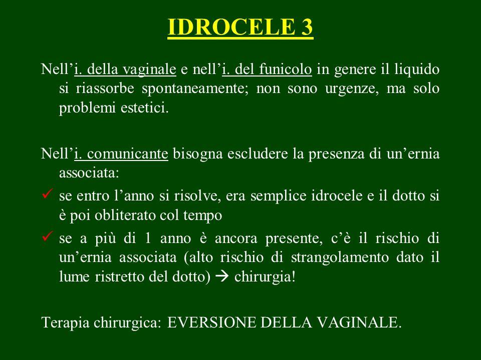 IDROCELE 3 Nelli. della vaginale e nelli. del funicolo in genere il liquido si riassorbe spontaneamente; non sono urgenze, ma solo problemi estetici.