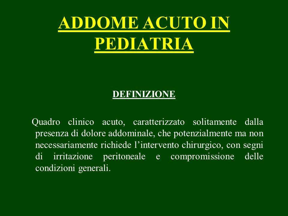 ADDOME ACUTO IN PEDIATRIA DEFINIZIONE Quadro clinico acuto, caratterizzato solitamente dalla presenza di dolore addominale, che potenzialmente ma non