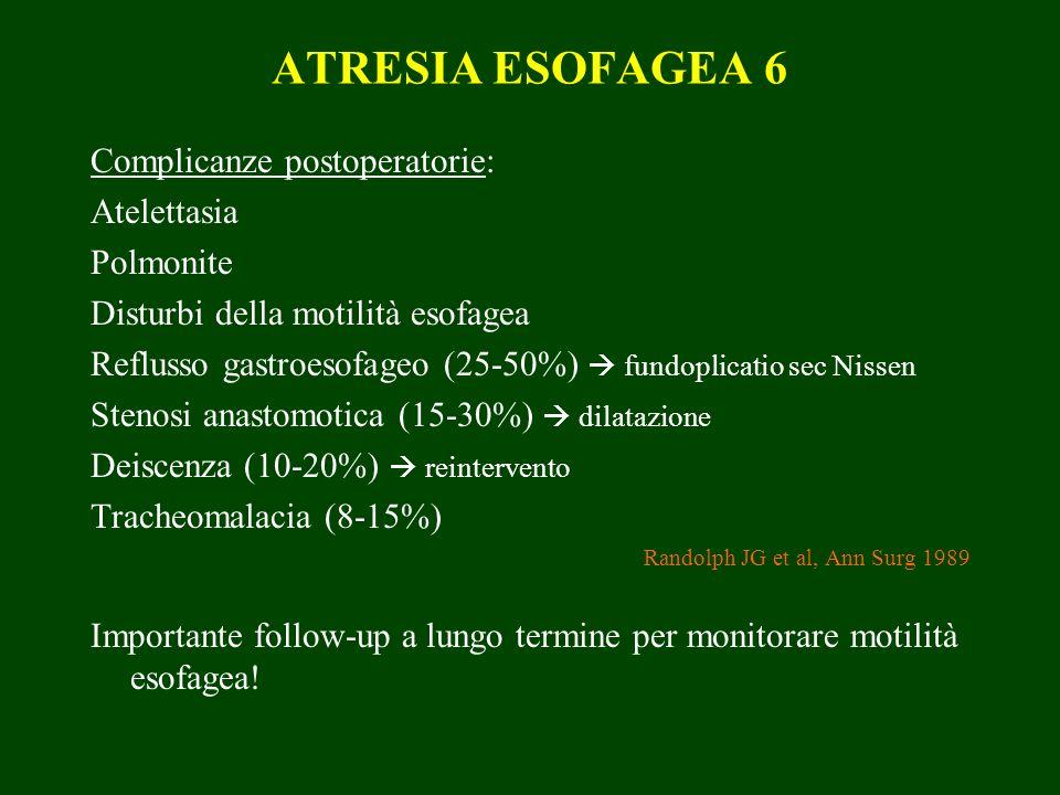 ATRESIA ESOFAGEA 6 Complicanze postoperatorie: Atelettasia Polmonite Disturbi della motilità esofagea Reflusso gastroesofageo (25-50%) fundoplicatio sec Nissen Stenosi anastomotica (15-30%) dilatazione Deiscenza (10-20%) reintervento Tracheomalacia (8-15%) Randolph JG et al, Ann Surg 1989 Importante follow-up a lungo termine per monitorare motilità esofagea!