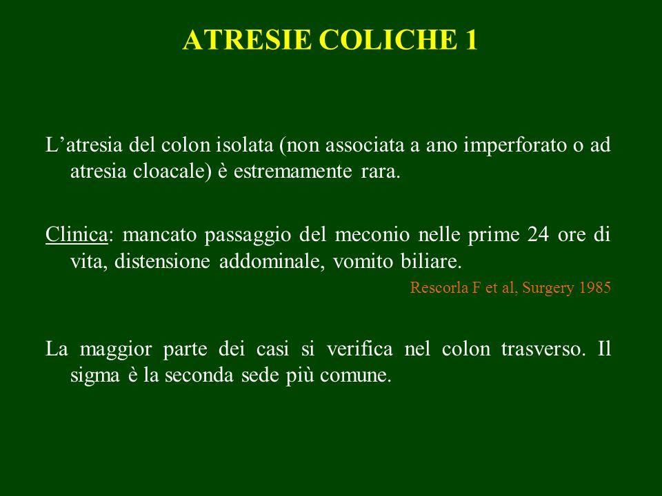 ATRESIE COLICHE 1 Latresia del colon isolata (non associata a ano imperforato o ad atresia cloacale) è estremamente rara. Clinica: mancato passaggio d