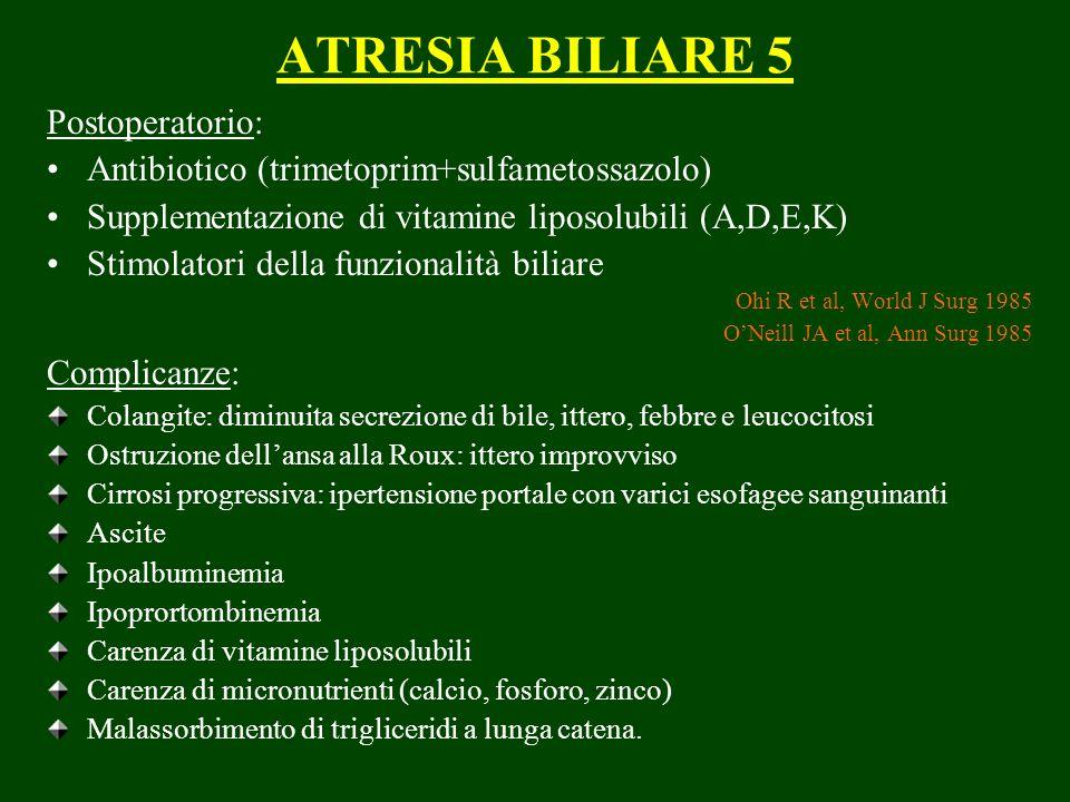 ATRESIA BILIARE 5 Postoperatorio: Antibiotico (trimetoprim+sulfametossazolo) Supplementazione di vitamine liposolubili (A,D,E,K) Stimolatori della fun