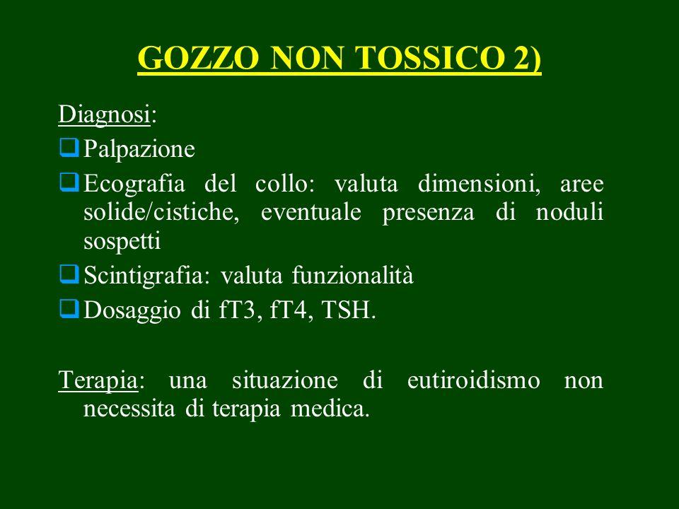 GOZZO NON TOSSICO 2) Diagnosi: Palpazione Ecografia del collo: valuta dimensioni, aree solide/cistiche, eventuale presenza di noduli sospetti Scintigr