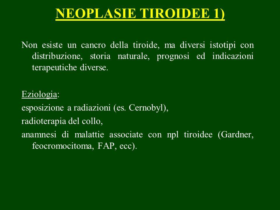 NEOPLASIE TIROIDEE 1) Non esiste un cancro della tiroide, ma diversi istotipi con distribuzione, storia naturale, prognosi ed indicazioni terapeutiche