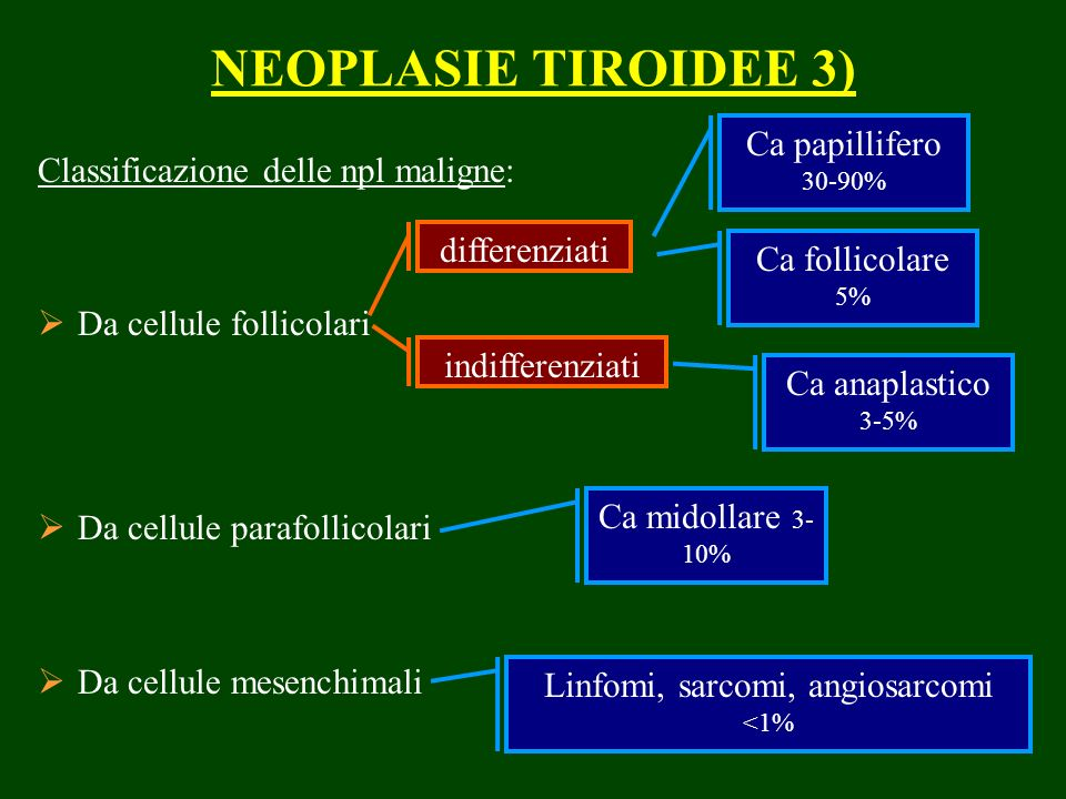 NEOPLASIE TIROIDEE 3) Classificazione delle npl maligne: Da cellule follicolari Da cellule parafollicolari Da cellule mesenchimali differenziati indifferenziati Ca papillifero 30-90% Ca follicolare 5% Ca anaplastico 3-5% Ca midollare 3- 10% Linfomi, sarcomi, angiosarcomi <1%