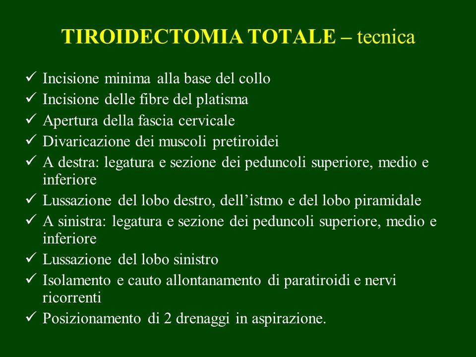 TIROIDECTOMIA TOTALE – tecnica Incisione minima alla base del collo Incisione delle fibre del platisma Apertura della fascia cervicale Divaricazione d