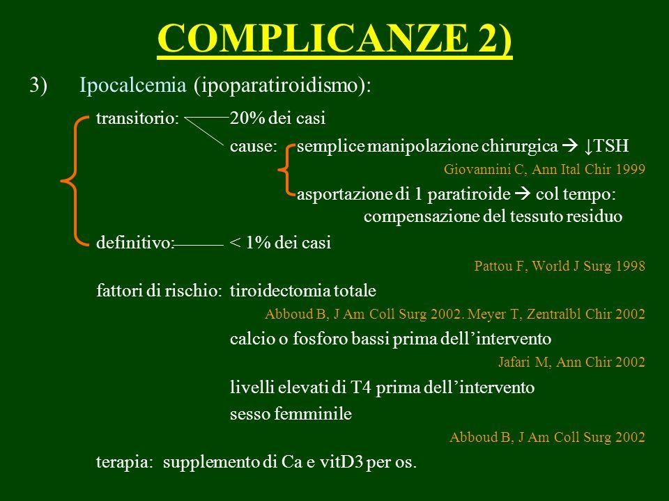 COMPLICANZE 2) 3) Ipocalcemia (ipoparatiroidismo): transitorio:20% dei casi cause:semplice manipolazione chirurgica TSH Giovannini C, Ann Ital Chir 19