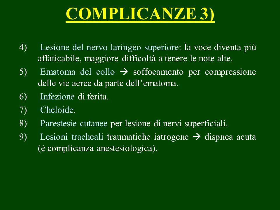 COMPLICANZE 3) 4) Lesione del nervo laringeo superiore: la voce diventa più affaticabile, maggiore difficoltà a tenere le note alte. 5) Ematoma del co