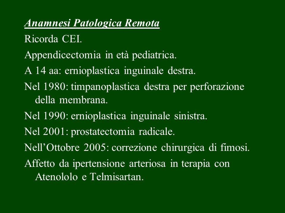 Anamnesi Patologica Remota Ricorda CEI. Appendicectomia in età pediatrica. A 14 aa: ernioplastica inguinale destra. Nel 1980: timpanoplastica destra p