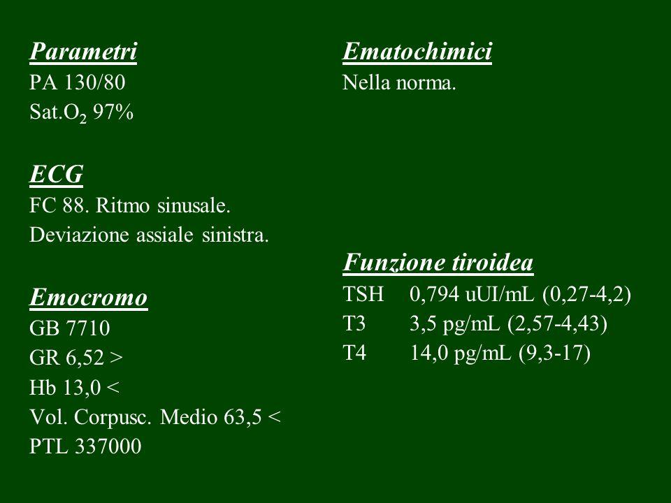 Parametri PA 130/80 Sat.O 2 97% ECG FC 88. Ritmo sinusale. Deviazione assiale sinistra. Emocromo GB 7710 GR 6,52 > Hb 13,0 < Vol. Corpusc. Medio 63,5