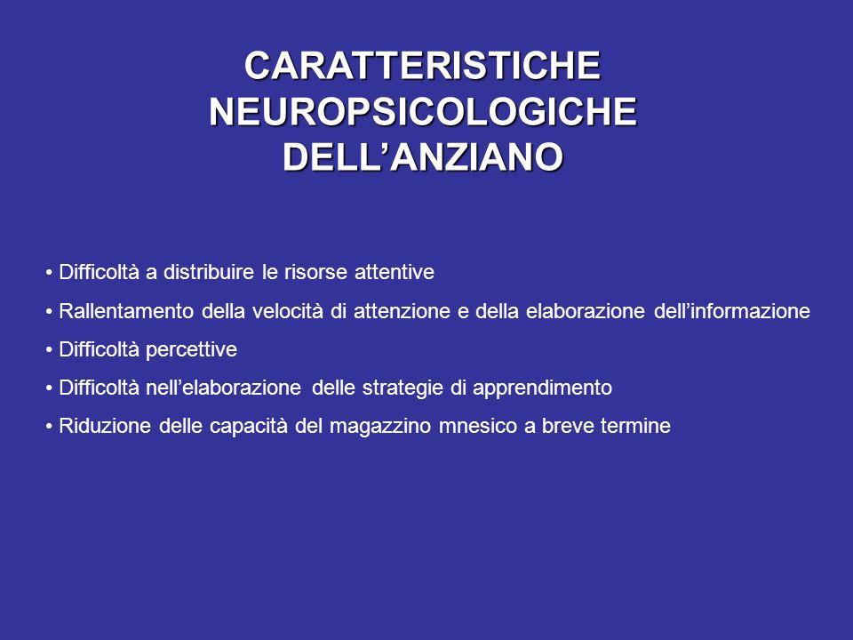 CARATTERISTICHE NEUROPSICOLOGICHE DELLANZIANO Difficoltà a distribuire le risorse attentive Rallentamento della velocità di attenzione e della elabora