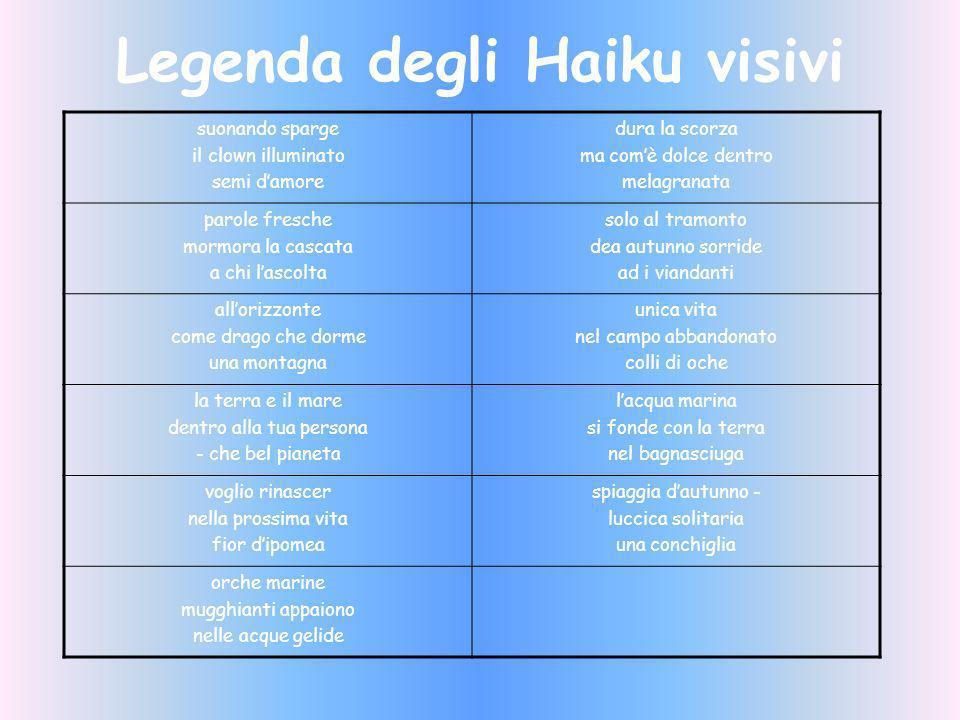 Legenda degli Haiku visivi suonando sparge il clown illuminato semi damore dura la scorza ma comè dolce dentro melagranata parole fresche mormora la c
