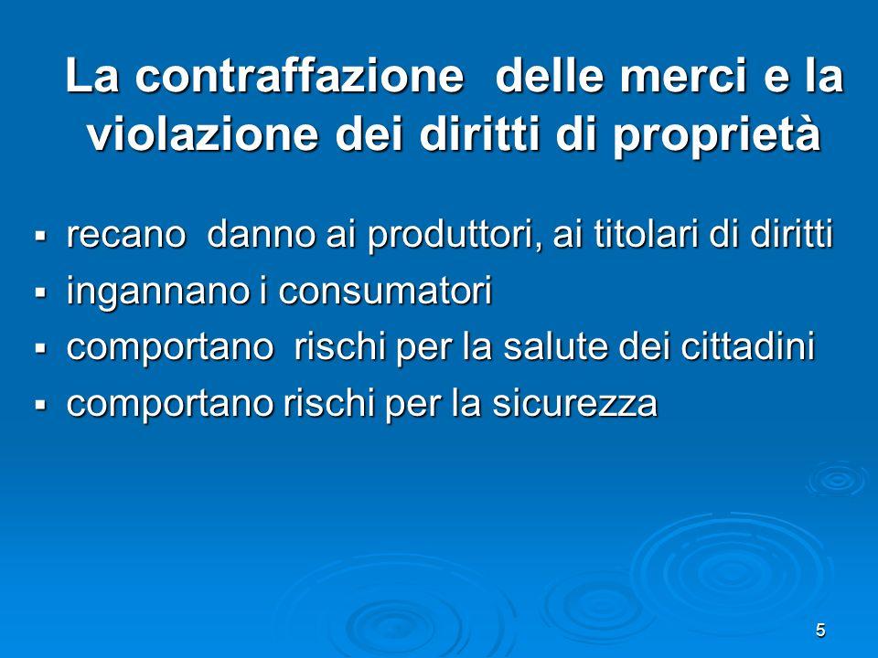 6 Le strategie dellAgenzia delle Dogane Adottare misure idonee a contrastare le contraffazioni dei prodotti in maniera coerente con le direttive comunitarie Adottare misure idonee a contrastare le contraffazioni dei prodotti in maniera coerente con le direttive comunitarie Qualificare e potenziare lintervento doganale nei confronti delle merci sospette sulla base della nuova regolamentazione comunitaria (Reg.