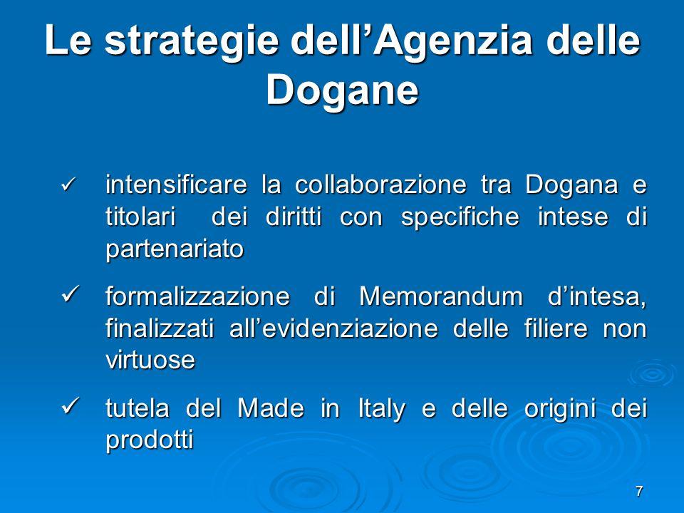 7 Le strategie dellAgenzia delle Dogane intensificare la collaborazione tra Dogana e titolari dei diritti con specifiche intese di partenariato intensificare la collaborazione tra Dogana e titolari dei diritti con specifiche intese di partenariato formalizzazione di Memorandum dintesa, finalizzati allevidenziazione delle filiere non virtuose formalizzazione di Memorandum dintesa, finalizzati allevidenziazione delle filiere non virtuose tutela del Made in Italy e delle origini dei prodotti tutela del Made in Italy e delle origini dei prodotti
