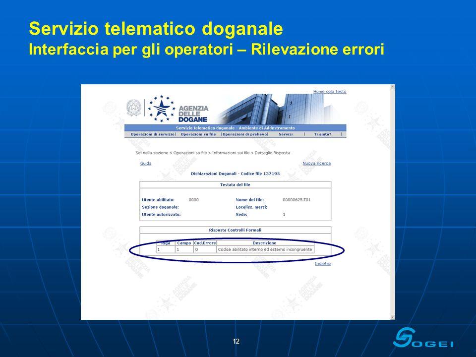 12 Servizio telematico doganale Interfaccia per gli operatori – Rilevazione errori