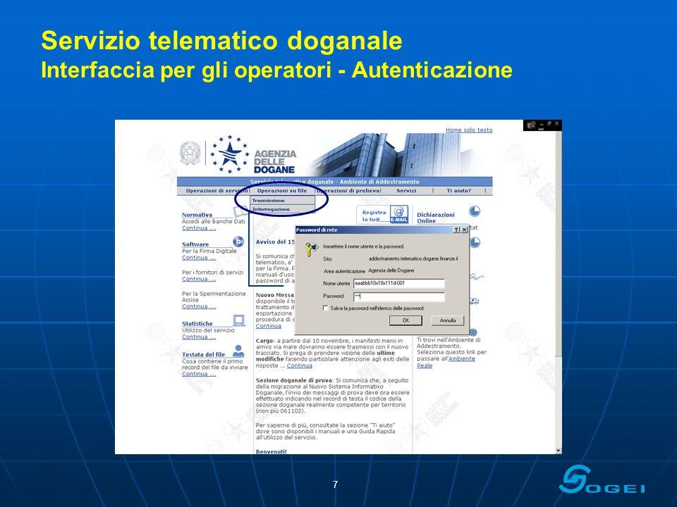 7 Servizio telematico doganale Interfaccia per gli operatori - Autenticazione