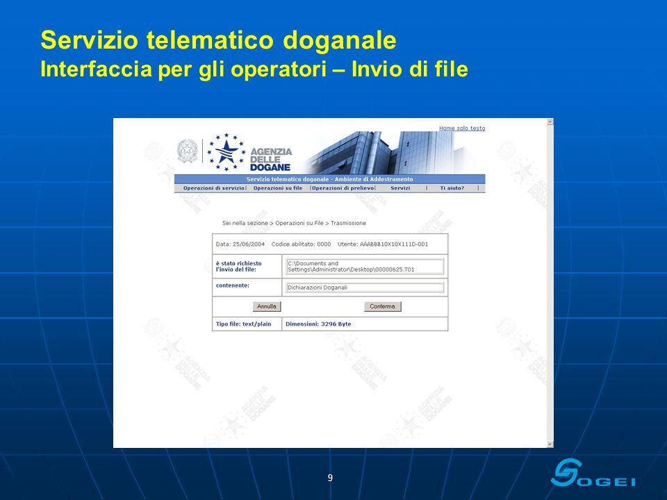 10 Servizio telematico doganale Interfaccia per gli operatori – Registrazione file